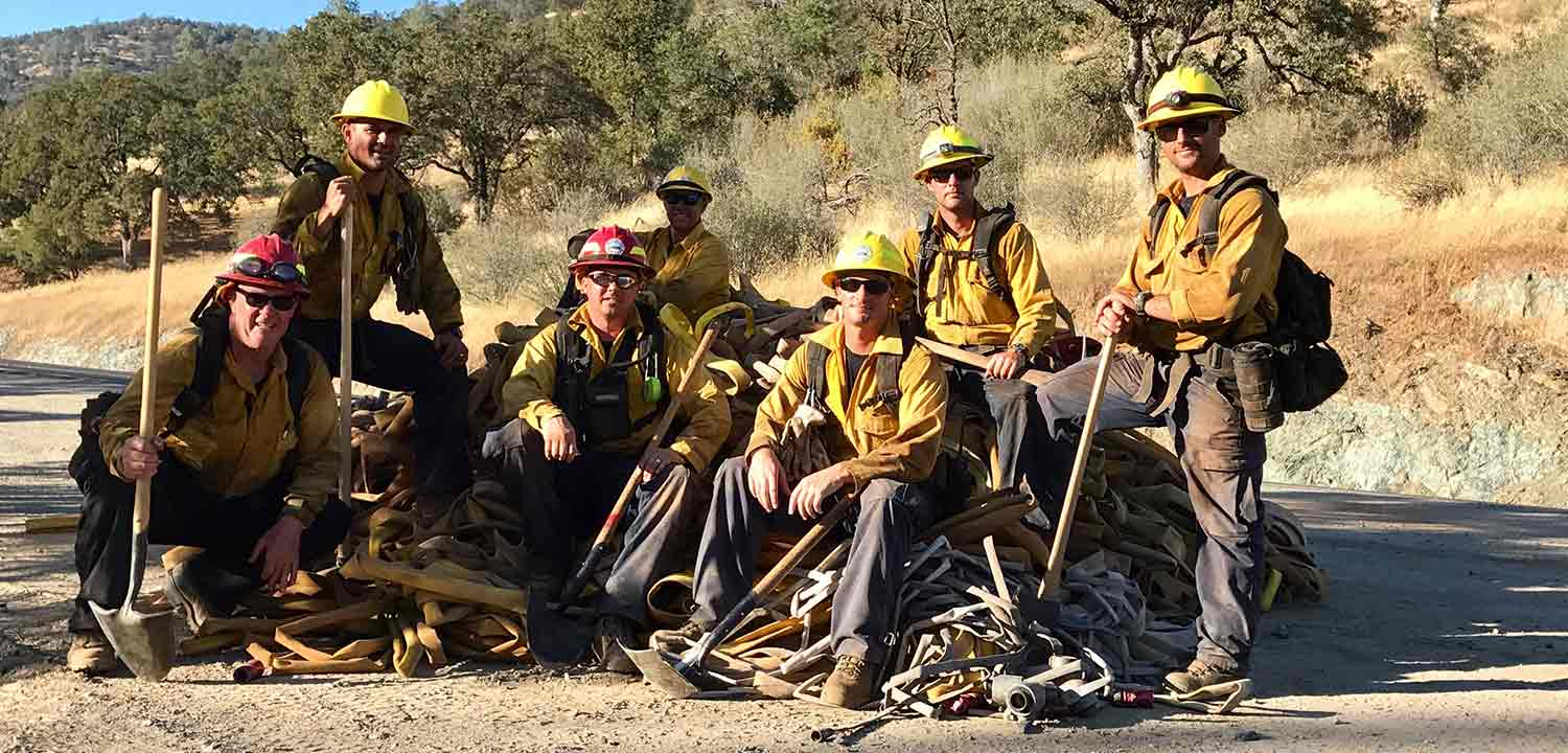 Montecito firefighting crew in the hills